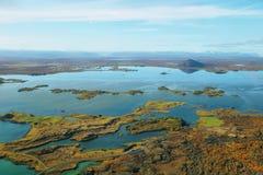 Воздушное озеро Myvatn ландшафта стоковое изображение rf