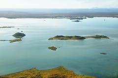 Воздушное озеро Myvatn ландшафта стоковые фотографии rf