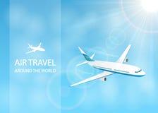 Воздушное путешествие с белым самолетом в небе Стоковое Фото