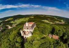 Воздушное фото замка Greifenstein на suisse franconian Стоковое Изображение RF