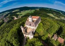 Воздушное фото замка Greifenstein на suisse franconian Стоковые Фотографии RF