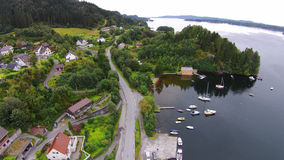 Воздушное фото от Fana в Бергене, Норвегии Стоковое фото RF