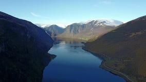 Воздушное vfootage Sognefjord в Норвегии видеоматериал