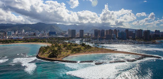 Воздушные гавань Гонолулу и остров волшебства Стоковая Фотография RF
