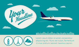 Воздушные судн летания с значками, заголовком и знаменем текстового участка Стоковое Изображение RF