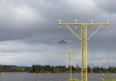 Воздушные судн приходя внутри для приземляться Стоковые Изображения