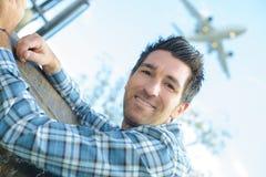 Воздушные судн человека портрета в небе Стоковые Фотографии RF