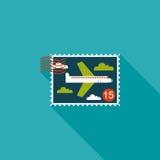 Воздушные судн штемпелюют плоский значок с длинной тенью Стоковые Фотографии RF