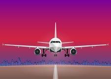 Воздушные судн vector, самолет на фоне неба захода солнца, дома взлета города бесплатная иллюстрация