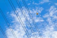 Воздушные шарики отметки с облаками и голубым небом Стоковые Фото
