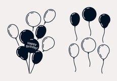 Воздушные шары вечеринки по случаю дня рождения, силуэты вектора иллюстрация штока