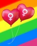 Воздушные шары в лесбосской влюбленности Стоковое Изображение
