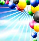 Воздушные шары в небе для предпосылки дня рождения иллюстрация штока