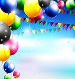 Воздушные шары в небе для предпосылки дня рождения бесплатная иллюстрация
