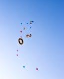 Воздушные шары в форме 20 и пестротканая мухы высокого int Стоковое Фото