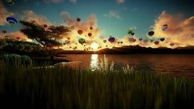 Воздушные шары летая над красивым озером и зеленым лугом окруженными горами, восходом солнца путешествуя съемка иллюстрация вектора