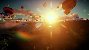 Воздушные шары летая над озером окруженным горами, красивым восходом солнца, подниматься камеры иллюстрация штока