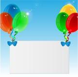 Воздушные шары и лист Иллюстрация вектора
