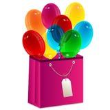Воздушные шары и пакет Иллюстрация штока
