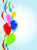Воздушные шары и партия Confetti иллюстрация штока