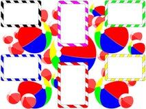 Воздушные шары и радуга листовки предпосылки Стоковое Фото