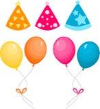 Воздушные шары и шляпа партии иллюстрация вектора