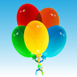 Воздушные шары на предпосылке голубого неба Стоковые Изображения