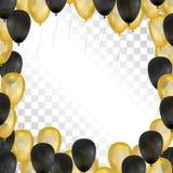 Воздушные шары на прозрачной предпосылке Золото и черная рамка также вектор иллюстрации притяжки corel Стоковое Изображение RF