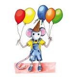 Воздушные шары дня рождения мыши Стоковые Изображения RF