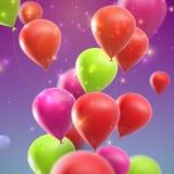 Воздушные шары праздника летания с сияющими sparkles Стоковая Фотография