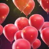Воздушные шары праздника летания с сияющими sparkles Стоковые Изображения RF