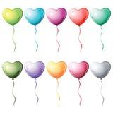Воздушные шары сердца форменные красочные иллюстрация вектора