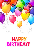Воздушные шары с днем рождений цвета лоснистые Стоковое Изображение