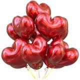 Воздушные шары с днем рождения party лоснистое украшения сформированное сердцем красное Стоковые Фото