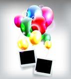 Воздушные шары с рамкой для предпосылки дня рождения бесплатная иллюстрация