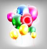 Воздушные шары с рамкой для предпосылки дня рождения иллюстрация вектора