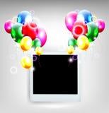 Воздушные шары с рамкой для предпосылки дня рождения иллюстрация штока