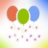 Воздушные шары с с днем рождениями на предпосылке вектор Стоковое фото RF
