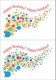 Воздушные шары, цветки и подарки летания с надписями вектор Стоковое Изображение