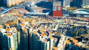 Воздушный взгляд городского пейзажа с строительной конструкцией Hong Kong до Стоковое фото RF