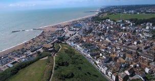 Воздушный взгляд глаза ` s птицы городка Hastings в Англии Стоковые Изображения