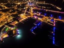 Воздушный взгляд ночи Марины Лимасола Стоковое фото RF