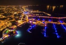 Воздушный взгляд ночи Марины Лимасола Стоковое Изображение RF