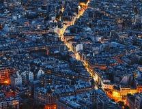 Воздушный взгляд ночи Парижа стоковые изображения rf