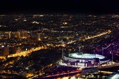 Воздушный взгляд ночи сверчка Мельбурна смолол и город на ноче Стоковые Изображения