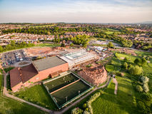 Воздушный взгляд трутня строительной площадки стоковые фото