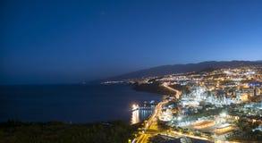 воздушный взгляд Украины ночи kyiv города cruz de santa tenerife стоковое изображение