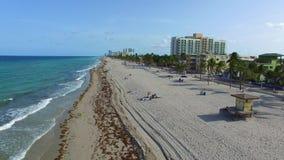 Воздушный видео- пляж FL Голливуда сток-видео
