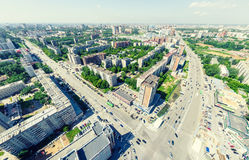 Воздушный вид на город ландшафт урбанский Съемка вертолета изображение панорамное Стоковая Фотография RF