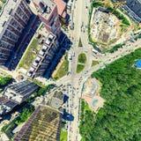 Воздушный вид на город ландшафт урбанский Съемка вертолета изображение панорамное Стоковое Фото